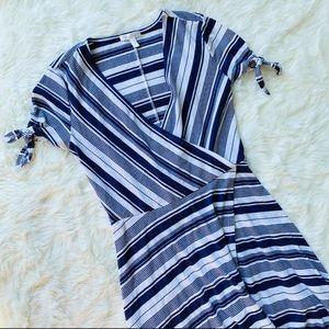 LC Lauren Conrad Striped Maxi Wrap Dress Navy SM